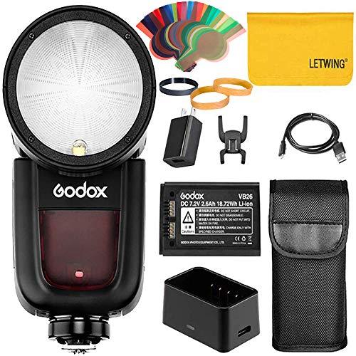 Godox V1S V1-S 76Ws 2.4G Fresnel Zoom Wireless TTL R&kopf Kamera Blitz Blitzgerät Kompatibel für Sony a7RII a7R a58 a99 ILCE6000L a7RIII a7R3 a9 a77II a77 a350 Kamera