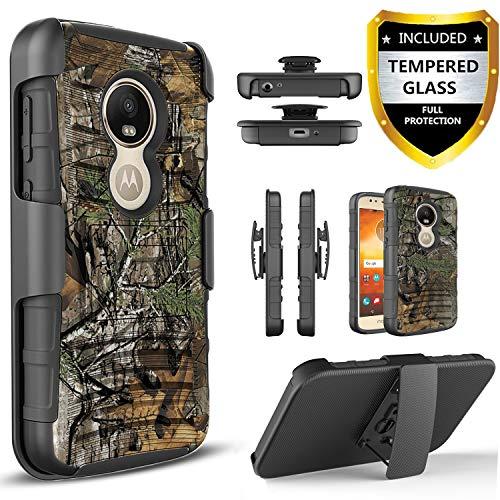 Motorola Moto E5 Play Case, Moto E5 Go Case, Moto E5 Cruise Case with [Tempered Glass Screen Protector],and Built-in Kickstand Heavy Duty Combo Belt Clip Holster Phone Cover -Camo