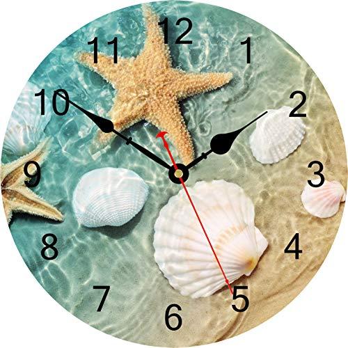 TAHEAT Marina Concha Estrella de mar Reloj de Pared, Silencio Sin tictac Decorativo Relojes De Pilas Fácil de Leer Reloj de Pared para casa Oficina Colegio, 34 cm