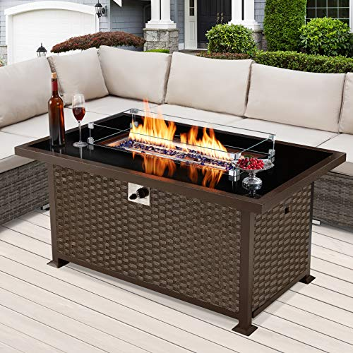 U-MAX 52 Inch Outdoor Propane Gas Fire Pit Table, 50,000 BTU Auto-Ignition Gas Firepit with Glass Wind Guard, Black Tempered Glass Tabletop, Blue Glass Stone & PE Rattan, CSA Certification