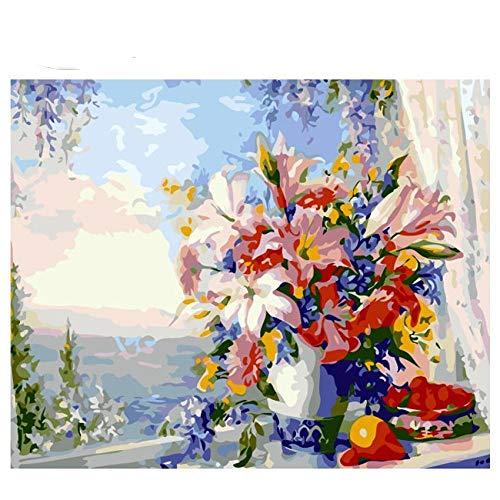 SHILLPS Fenster Blumen DIY Malerei Nach Zahlen, Sea Wall Art Bild Für Wohnzimmer, Leinwand Gemälde, Zeichnung Nach Zahlen Das Einzigartigste Geschenk Mit Rahmen