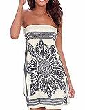 Verano sin tirantes de hombro mujer bohemia falda casual estampado floral colorido mini vestidos de playa,EMMA(WH,M)
