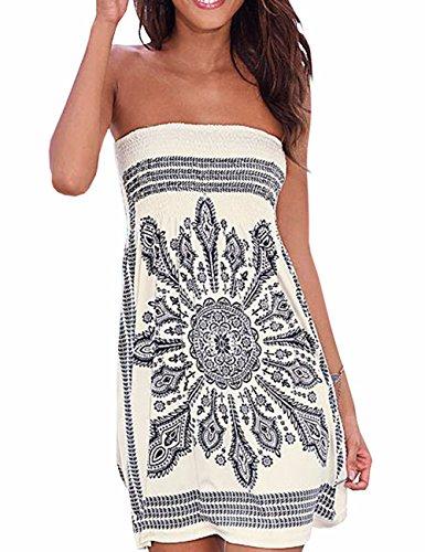 Verano sin tirantes de hombro mujer bohemia falda casual estampado floral colorido mini vestidos de playa,EMMA(WH,S)