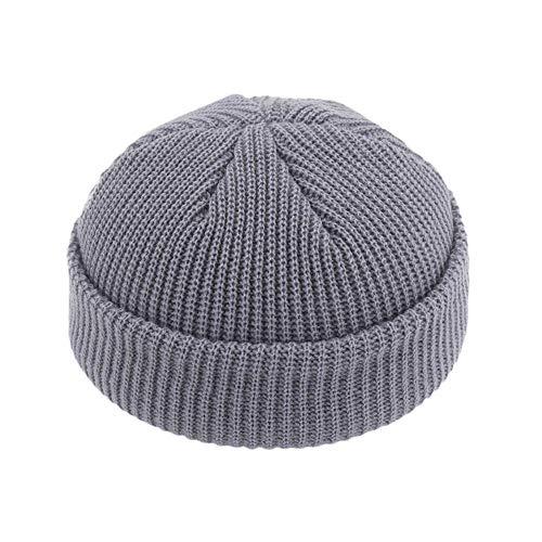 Winter Hat Warm Beanies Casual Short Thread Hip Hop Hat Adult Men Beanie Female Wool Knitted Beanie Skullcap Elastic Hats Unisex,Light Gray