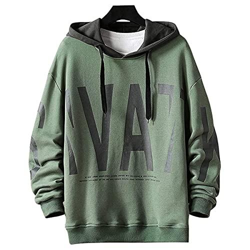 Moshtashio Felpa Uomo con Cappuccio Abbigliamento Felpe Stampa di Lettere Hoodie Sweatshirt Pullover Tops Autunno Inverno Moda (Verde, XXL)