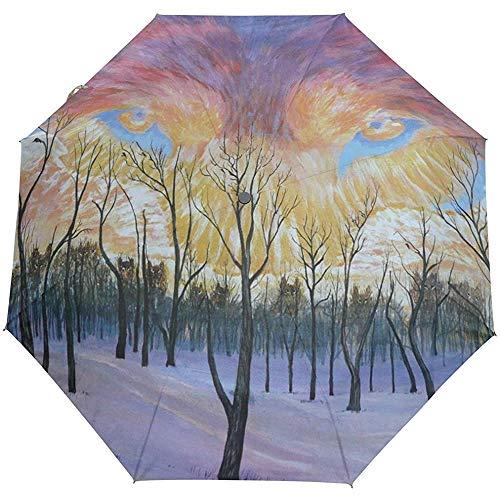 Forest Sky Tree Fox Winddichte Regenschirme Auto Open Close 3 Faltbarer Sonnenschirm
