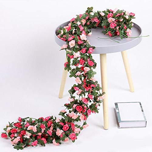 Artificial Rose Vine Silk Fake Flowers Garland Plant Floral Ivy Decorations For Home Wedding Arrangement Party Garden Décor Pink