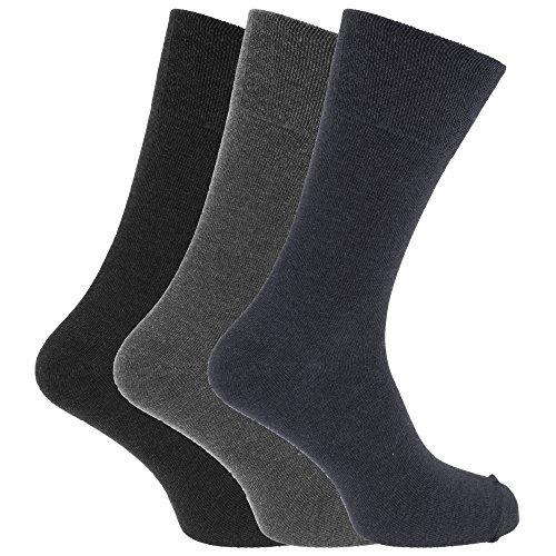 Textiles Universels Chaussettes non élastiquées (3 paires) - Homme (46-50 EUR) (Bleu marine/Gris foncé/Noir)