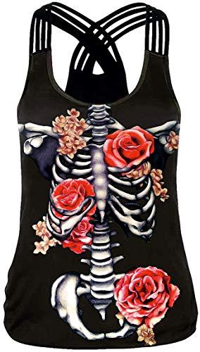 Ocean Plus Mujer Verano Redondo Camiseta sin Mangas O-Cuello Tank Tops Entrenamiento Racerback Yoga Camisas (S (EU 32-34), Esqueleto de Rosas Rosadas)