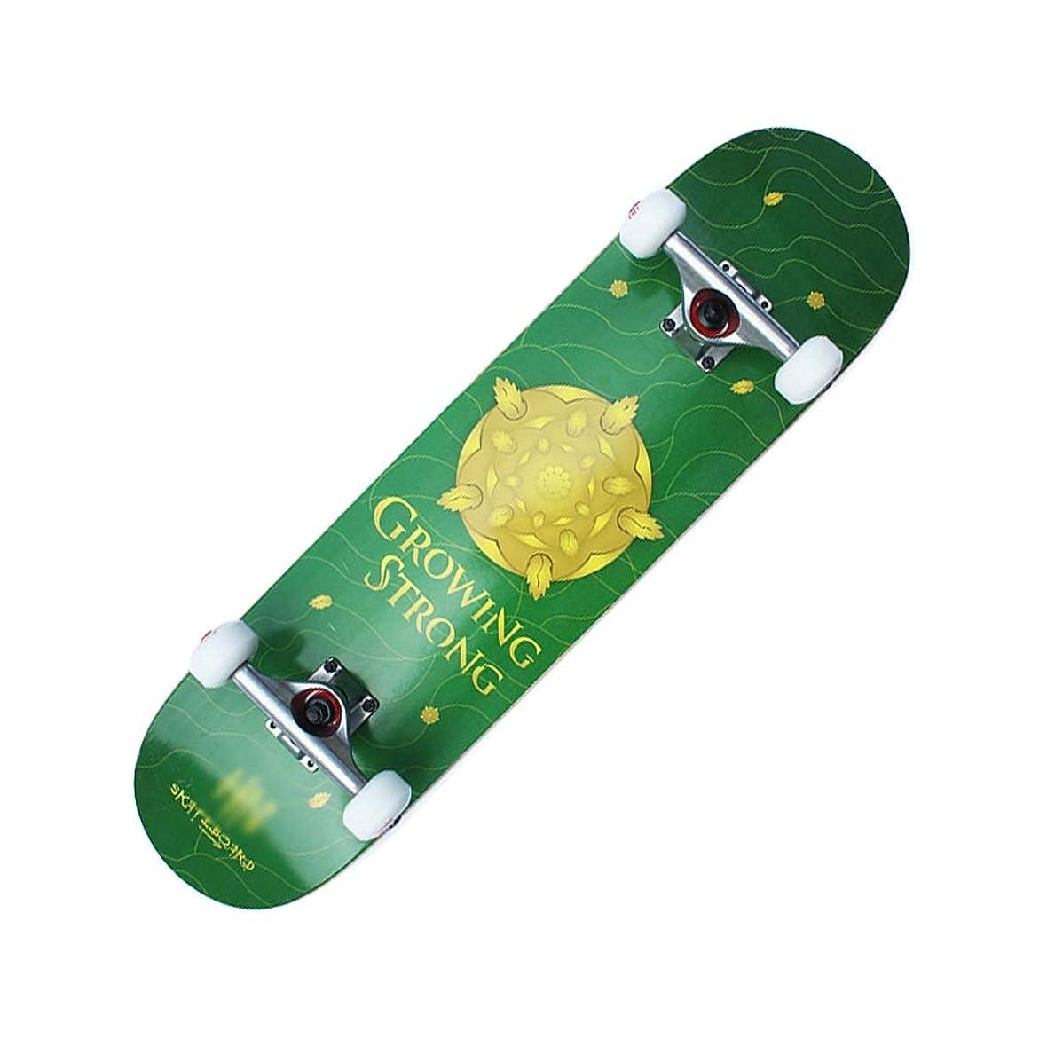 頭差別倒産HXGL-スケートボード スケートボードコンプリートロングボード31.5インチダブルキックスケートボードクルーザー7層メープルデッキ用エクストリームスポーツとアウトドア - グリーン