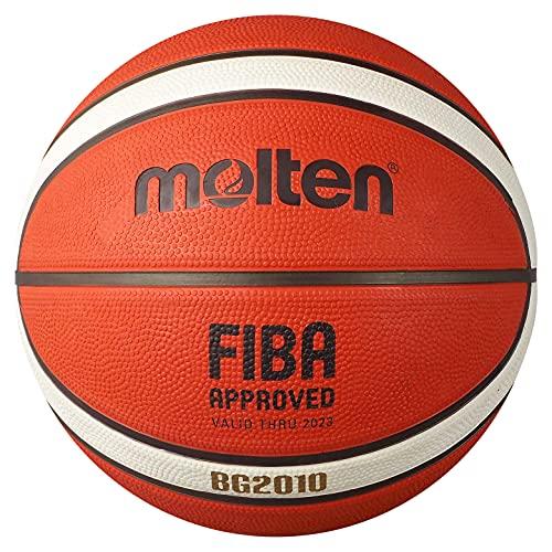 Molten BG2010 - Pallone da basket per interni/esterni, approvato FIBA, in gomma premium, canale, taglia 7, arancione/avorio, adatto per ragazzi di età 14 anni e adulti