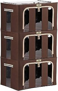 Boîtes de rangement, paniers de rangement for organisateur de conteneurs empilables et pliables avec fenêtre transparente,...