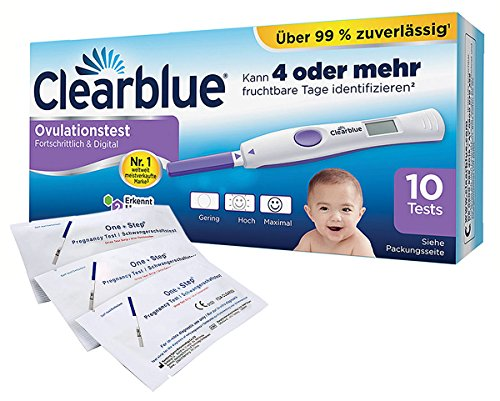 Clearblue Ovulationstest Fortschrittlich & Digital, 10 Tests, 1er Pack (1 x 10 Stück) plus 5 One+Step Schwangerschaftstests 10 miu