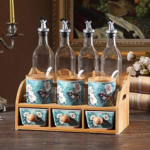 Heigmztlg Botes De Cocina, De Cocina de cerámica del condimento Sistema de la Caja, de Aceite de Cristal, hogar Creativo de Doble Capa condimento Tarro, Salero Salsa de Soja combinación de Botella
