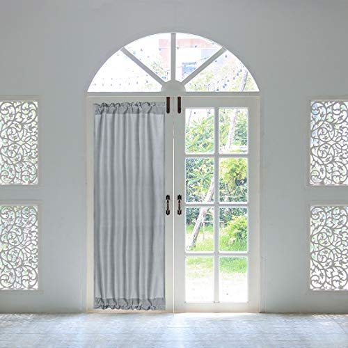 PiccoCasa Thermal Insulated French Door Curtain Side Panel - Blackout Door Curtain Drape Room Darkening for Glass Doors with Tieback - 1 Panel Gray W25 x L72