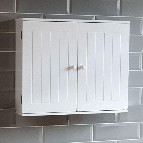 Bath Vida Bathroom Cabinet Double Door Wall Mounted Storage Shelf, White