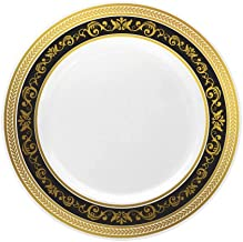 Posh Setting Royal Collection China Look White, Gold/Black Plastic Plates (Includes 4 Packs of 10.25'' Dinner Plates A total of 40 plates) Fancy Disposable Dinnerware