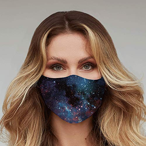 Washable Face Mask - 3 Layers, 100% Cotton Inner Layer - Cloth Reusable Face Protection with Filter Pocket - Made in USA -Suitable for Both Indoor & Outdoor (Galaxy)