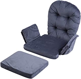 Soft Velvet Cotton Chair Cushions and Stool Pad Set, Cotton Chair Pad Wood Rocking Chair Cushions Total Chair Pad Cushion with Storage Pockets