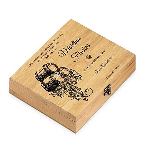 Murrano Weinöffner-Set personalisiert Weinset Sommelier Set - Geschenkbox Holzbox + 6er Weinzubehörset - aus Bambus - Braun - Geschenke für Frauen zum Geburtstag - Weintraube