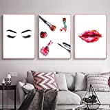 Moderne Wimpern Rote Lippen Mode Poster Make-Up Leinwand