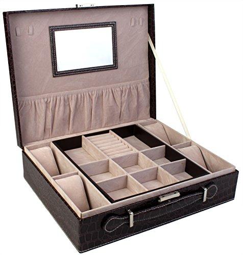 blushbees dos capa joyero de piel y reloj caja de almacenamiento organizador con cerradura
