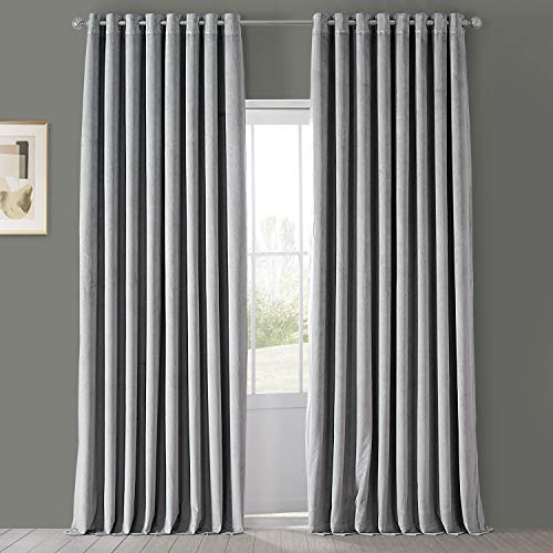 HPD Half Price Drapes VPCH-VET1213-108-GR Signature Extra Wide Grommet Blackout Velvet Curtain (1 Panel), 100 X 108, Silver Grey