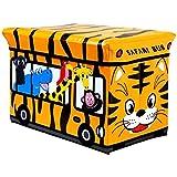 LXDDP Aufbewahrungsspielzeug Gepolsterte Kinderbox Sitzbank Safari Bus Kinderspielkiste, The Black Friday