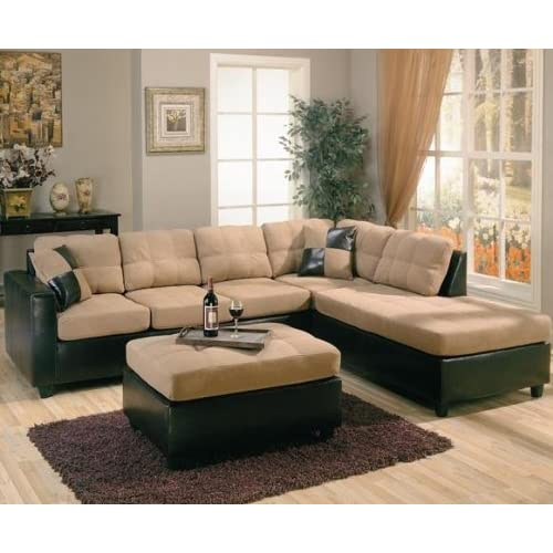 Amazon Com Harlow Right L Shaped Two Tone Sectional Sofa By Coaster