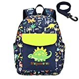 willikiva Cute Zoo Little 2d Backpack Kid Backpacks for Girls and Boys Toddler Backpack Waterproof Preschool Safety Harness Leash(Green Dinosaur)