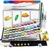 Conjunto de pintura de acuarela metálica, RATEL caja de pintura sólida de acuarela, 36 colores brillo pigmento sólido, Soluble y Mezclar bien, para niños, principiantes y profesionales