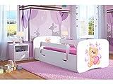 Kinderbett Jugendbett 70x140 80x160 80x180 Weiß mit Rausfallschutz Schublade und Lattenrost Kinderbetten für Mädchen und Junge - Teddybär mit Schmetterlingen 140 cm