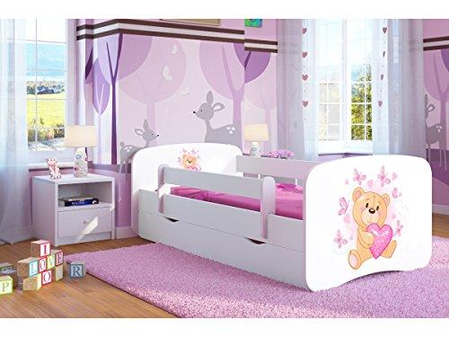 Bjird Letto per Bambini Singolo Bianco 140x70 160x80 180x80 con sponda anticaduta con barriera cassettone Estraibile - Orsetto con Le Farfalle - 80 x 180 cm