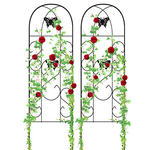"""Amagabeli 60"""" x 18"""" Rustproof Black Iron Butterfly Garden Trellis for Climbing Plants Potted Vines Vegetables Flowers Patio Metal Wire Lattices Grid Panels for Ivy Roses Cucumbers Clematis Pots 2 Pack"""