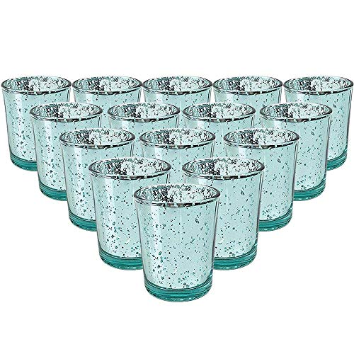 YarStore Versatile Decorative Mercury Glass Votive Candle Holder 2.75' H (15pcs, Speckled Aqua) - Mercury Glass Votive Tealight Candle Holders for Weddings, Parties and Home Décor