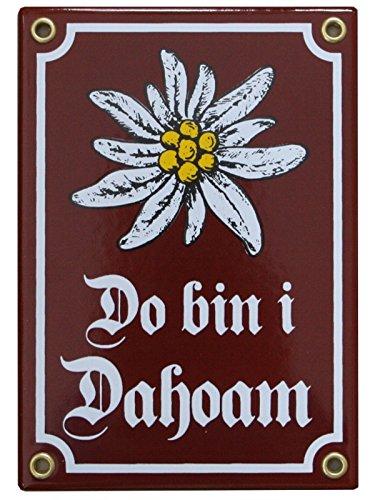 Do Bin i Dahoam Emaille Schild mit Edelweiß 12 x 17 cm Emailschild rot - braun
