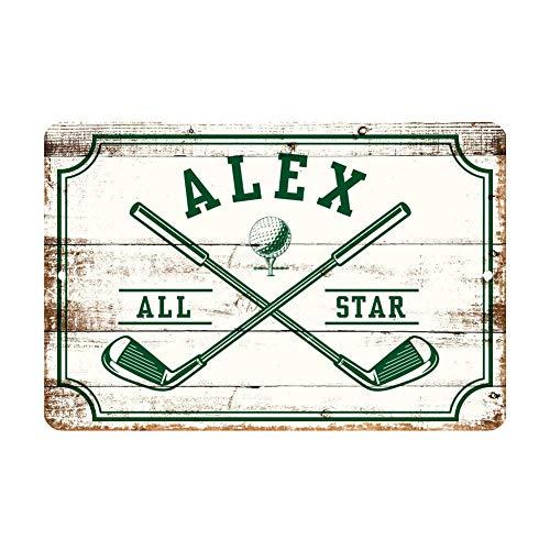 Unbekannt Personalisiertes Golf-All Star Metall-Wanddekoration – Aluminium All Star Golf Schild mit Golfschlägern, Metall-Wandkunst, personalisierbare Türschilder mit Name