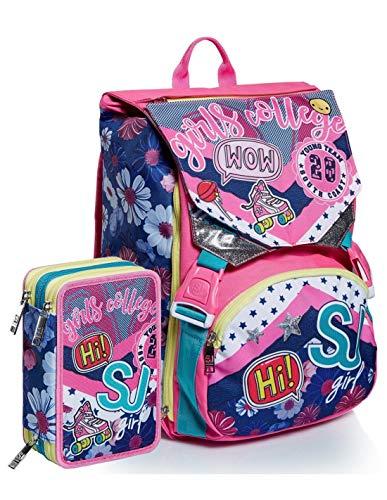 Seven SJ Gang - Mochila escolar plegable con diseño de mariposas y flores, incluye estuche de 3 pisos, incluye llavero y llavero de regalo + bolígrafo de colores