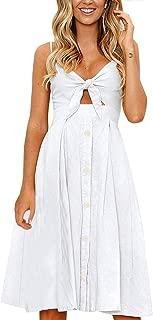 Womens Floral Prints Tie Front Button Down Spaghetti Strap Midi Dress