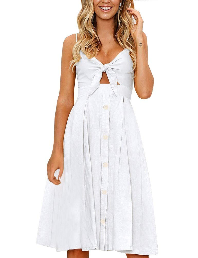 White Dress - Women's Short Sleeve Loose Plain Maxi Dresses Casual Long Dresses With Pockets
