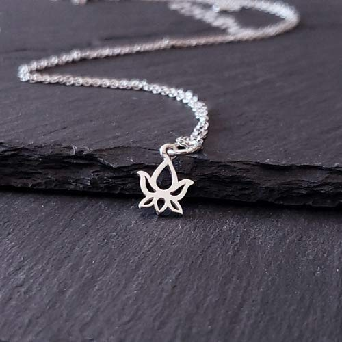 """Lotus Bud Charm Sterling Silver Necklace 16"""" (tiny size)"""
