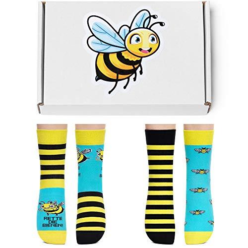 Petsy Lustige Socken für Damen & Herren - Baumwolle Bunt Motivsocken mit Spruch - Ideal Verrückte Geschenke Mehrfarbig,Die Bienen,39-42