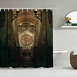 Polyester Fabric Shower Curtain Set with 12 Plastic Hooks Decorative Bath Curtains,Arrow Medieval Passage with Torch and Golden Clock On Wall Mystery,72 x 84 inches