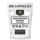 USDA Organic Vegan Gelatinized Black Maca Root- 3X Stronger per Serve- 200 Veg Capsules -Pure Peruvian Extract Powder Pills- Increased Energy Levels -Women & Men Supplement -Nourishing Nutrients
