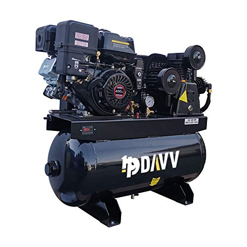 HPDAVV Gas Driven Piston Air Compressor 13HP - Two Stage - 30 Gal Tank - 24cfm @ Max 180psi - 420CC Engine for Service Trucks Fit for Ford F-150 Truck Bed