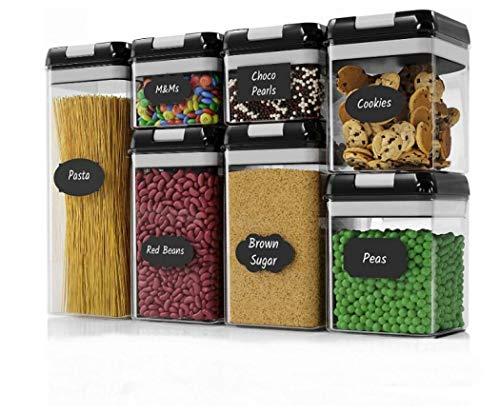 Frischhaltedosen, luftdicht, Kunststoff, BPA-frei, mit 24 Kreidetafel-Etiketten für Küche, Speisekammer, Zucker, Mehl und mehr, spülmaschinenfest, Schwarz 2