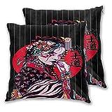 NANITHG Juego de 2 Fundas de cojín,Geisha Mujer Niña China Japón Carácter Imprimir Cráneo Patrón de Cebra,Decorativa Cuadrado Suave Funda de Almohada Sofá Sillas Cama Decoración para Hogar,45x45cm