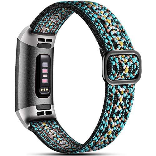 Dirrelo Elastisches Armband Kompatibel mit Fitbit Charge 3 Armband/Fitbit Charge 4 Armband, Atmungsaktiv Verstellbar Gewebte Stoff Ersatzarmband, Nylon Sportarmband für Damen Herren, Aztekisches Blau
