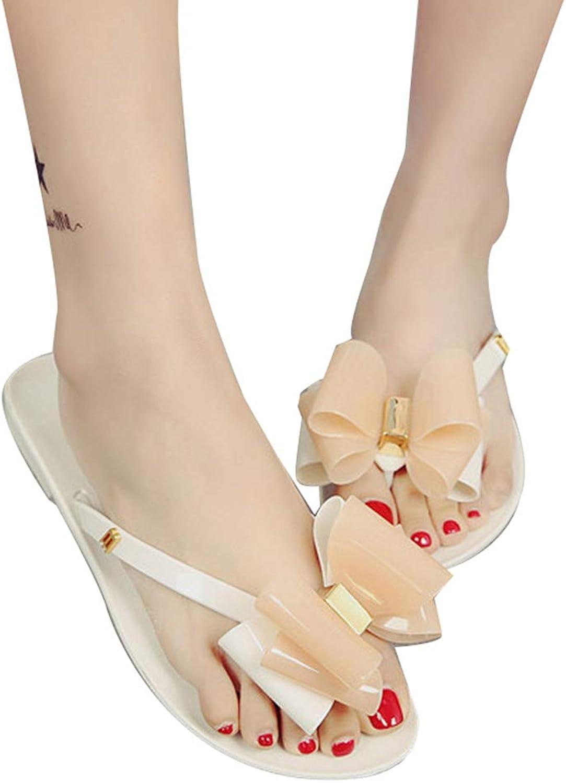 Women's Summer Slippers Thong Sandals Bowknot Anti-Skid Flip Flops