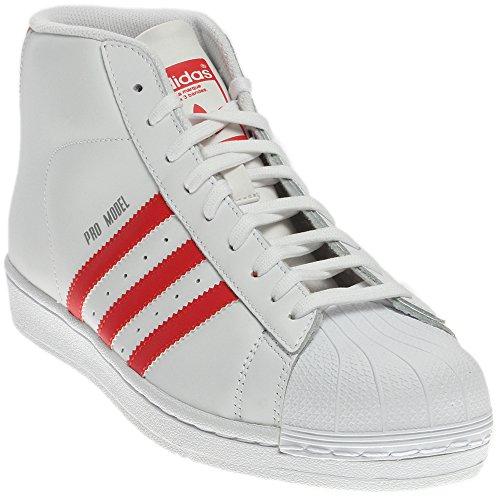 Adidas ProModel Herren Pantoffeln, - Weiß Rot - Größe: 48 EU